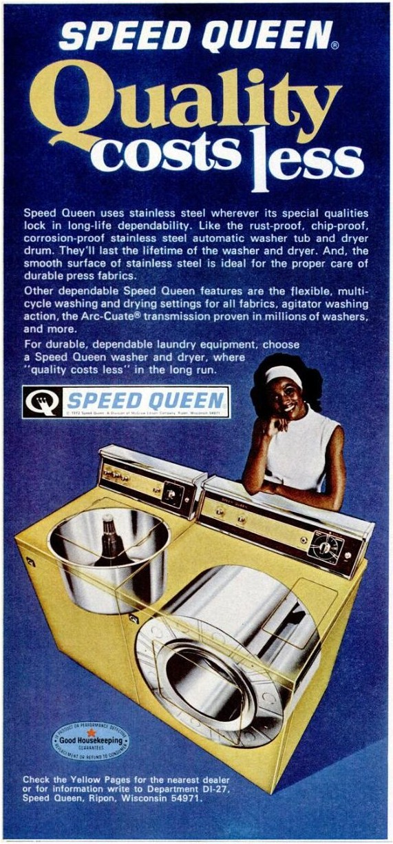 Grease covering brand new Speed Queen washing machine tub.