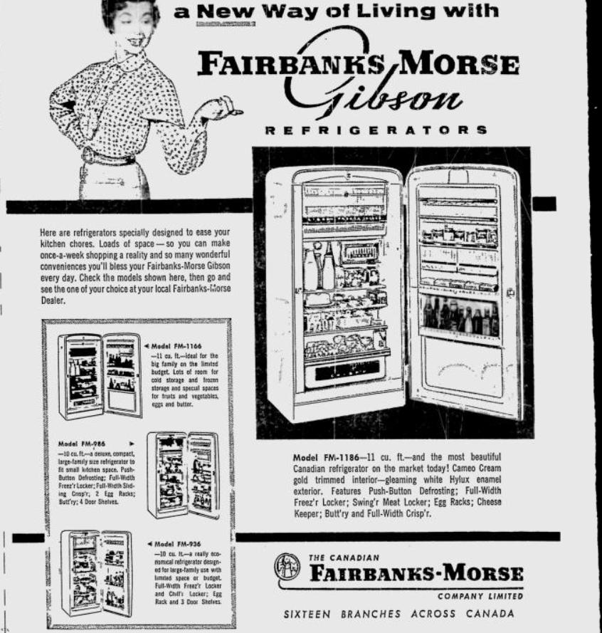 1956 GE Thinline a/c and Fairbanks Morse fridge Canadian ads